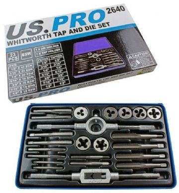 "23pc Whitworth Tap And Die Set BSW 1/8"" to 1/2"" US PRO 2640"